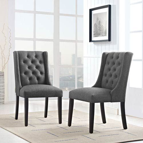 Modway Furniture Baronet Fabric Dining Chair In Gray Eei 2235 Gry