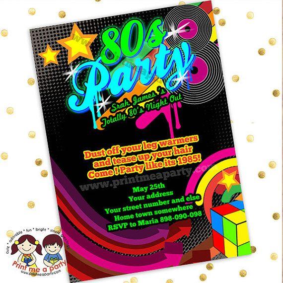 80s Theme Invitation Party Printable 80s Theme Invitations