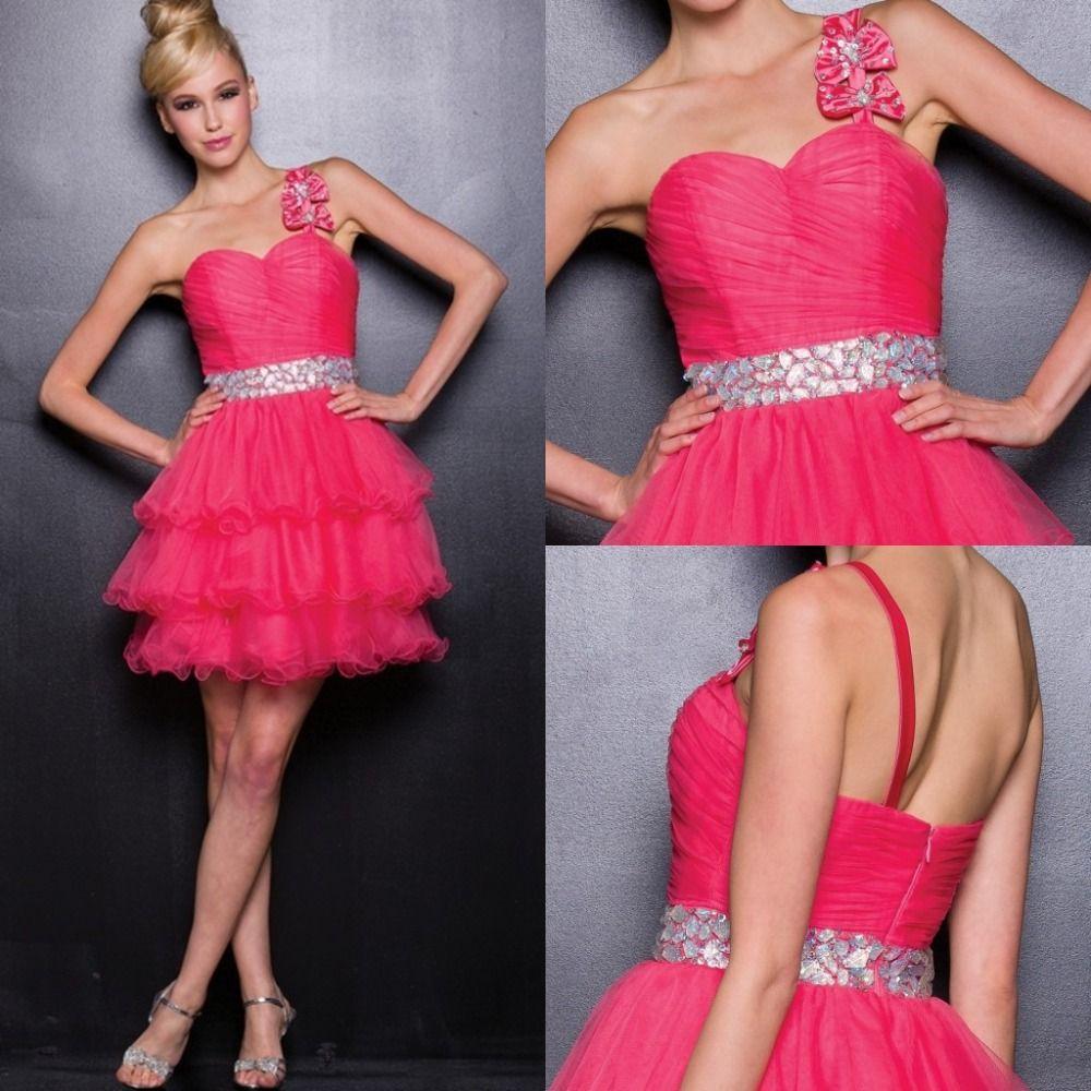Custom made aline one shoulder red pink graduation dress short prom