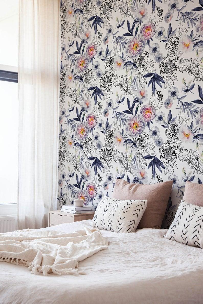 Blue Vintage Wallpaper, Wall Mural, Blue Flowers, Floral