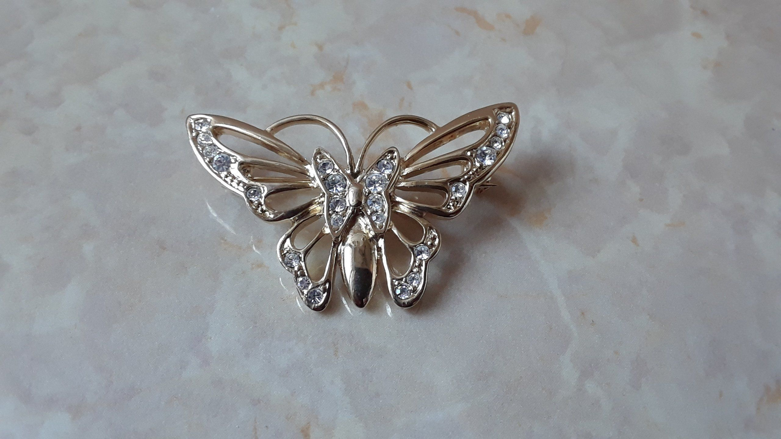 a9b39f78f8c Vintage Butterfly Brooch w/ Crystals, Jeweled Butterfly Pin, Gold Tone Metal  Butterfly Lapel Pin w/ Rhinestones, Insect Fashion Accessories by  TrendyThangz ...