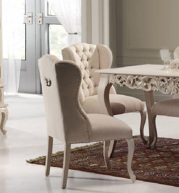 Silla vintage blanca charis en mbar muebles for Sillas blancas de madera tapizadas