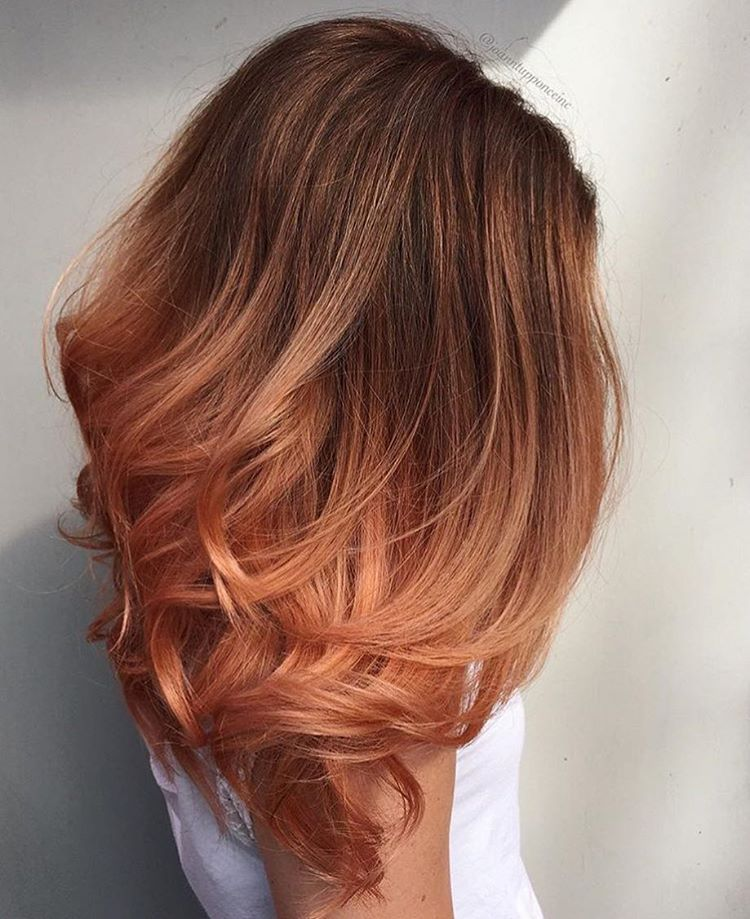 Ombre With A Beautiful Copper Rose Gold Strawberry Blonde Haircolor Bright Colors Summer Fun Beautiful Hair Hair Color Auburn Blorange Hair Peach Hair