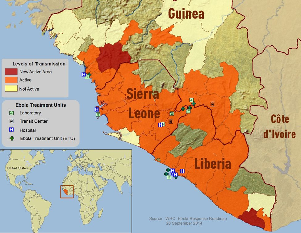 2014 Ebola Outbreak in West Africa - Outbreak Distribution Map ...