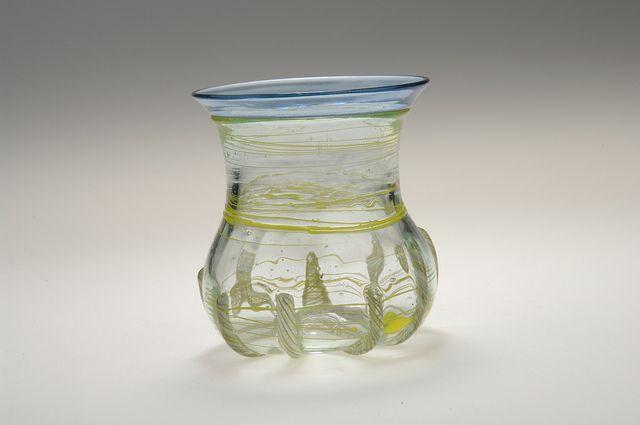 Reticella beaker, copy.  Glass.  Grave find, Björkö, Adelsö, Uppland, Sweden.   SHM 29750:269