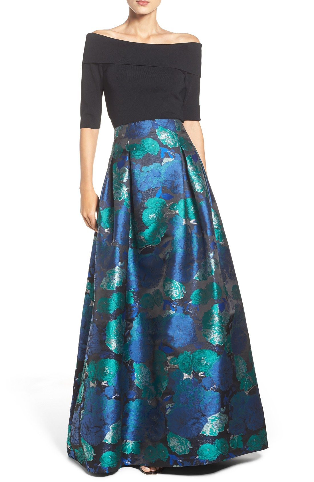 Free shipping and returns on Eliza J Floral Jacquard Ball Skirt at ...