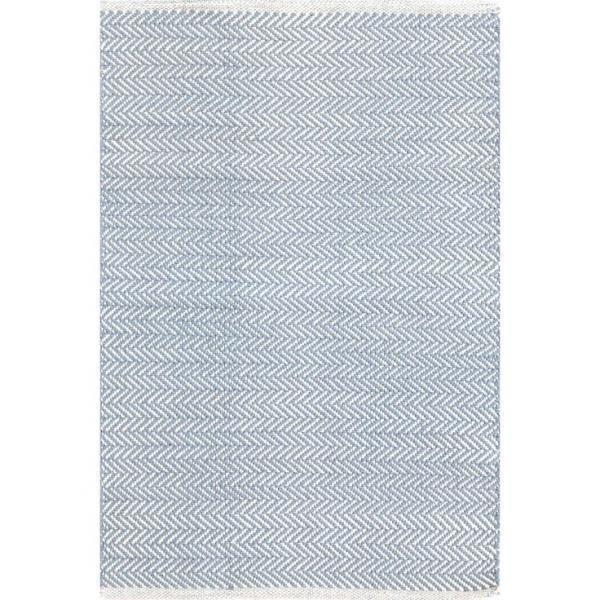 Herringbone Swedish Blue Woven Cotton Rug Small