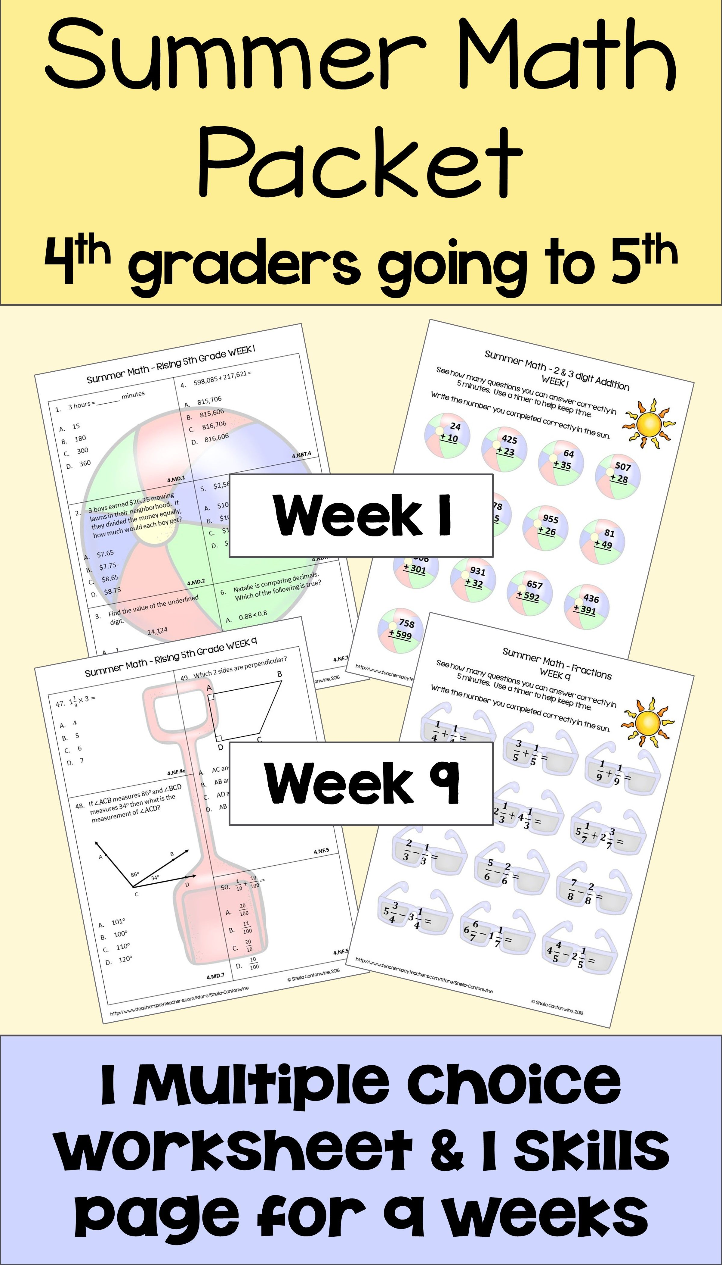 Summer Math Packet For Rising 5th Graders