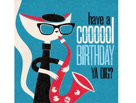 Jazz Poster Cat Birthday Cards Happy Beatnik Pulp Art