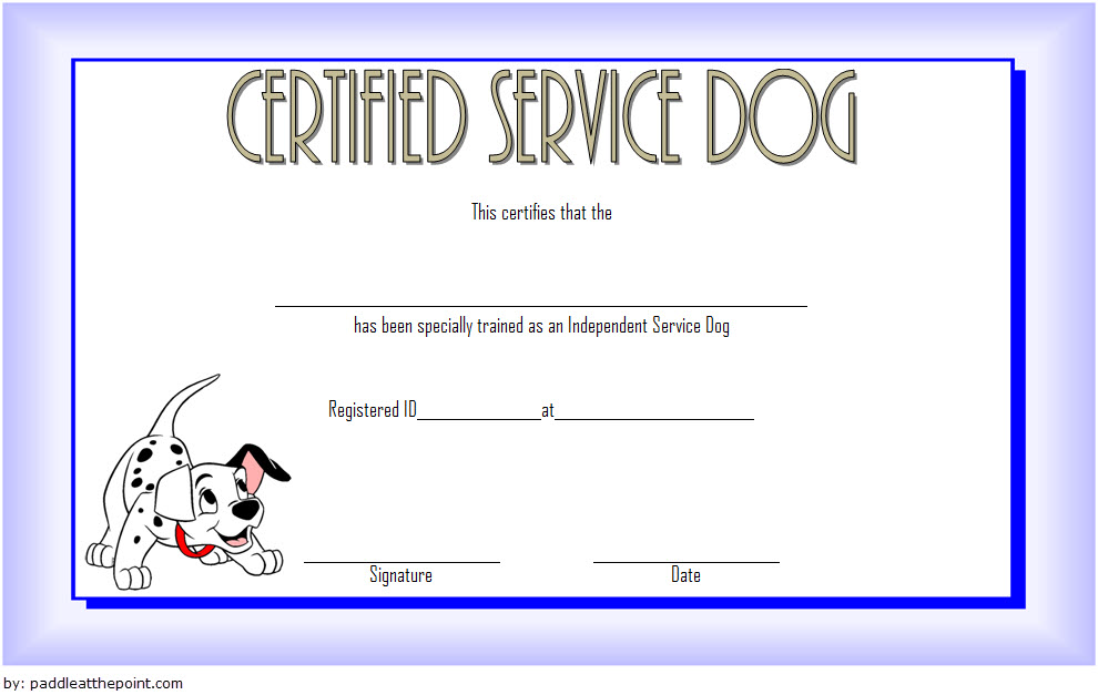 Independent Service Dog Training Certificate Template Free Certificate Templates Training Certificate Certificate Design Template
