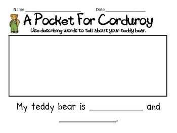 A Pocket For Corduroy Text To Self Connection Writing Activity