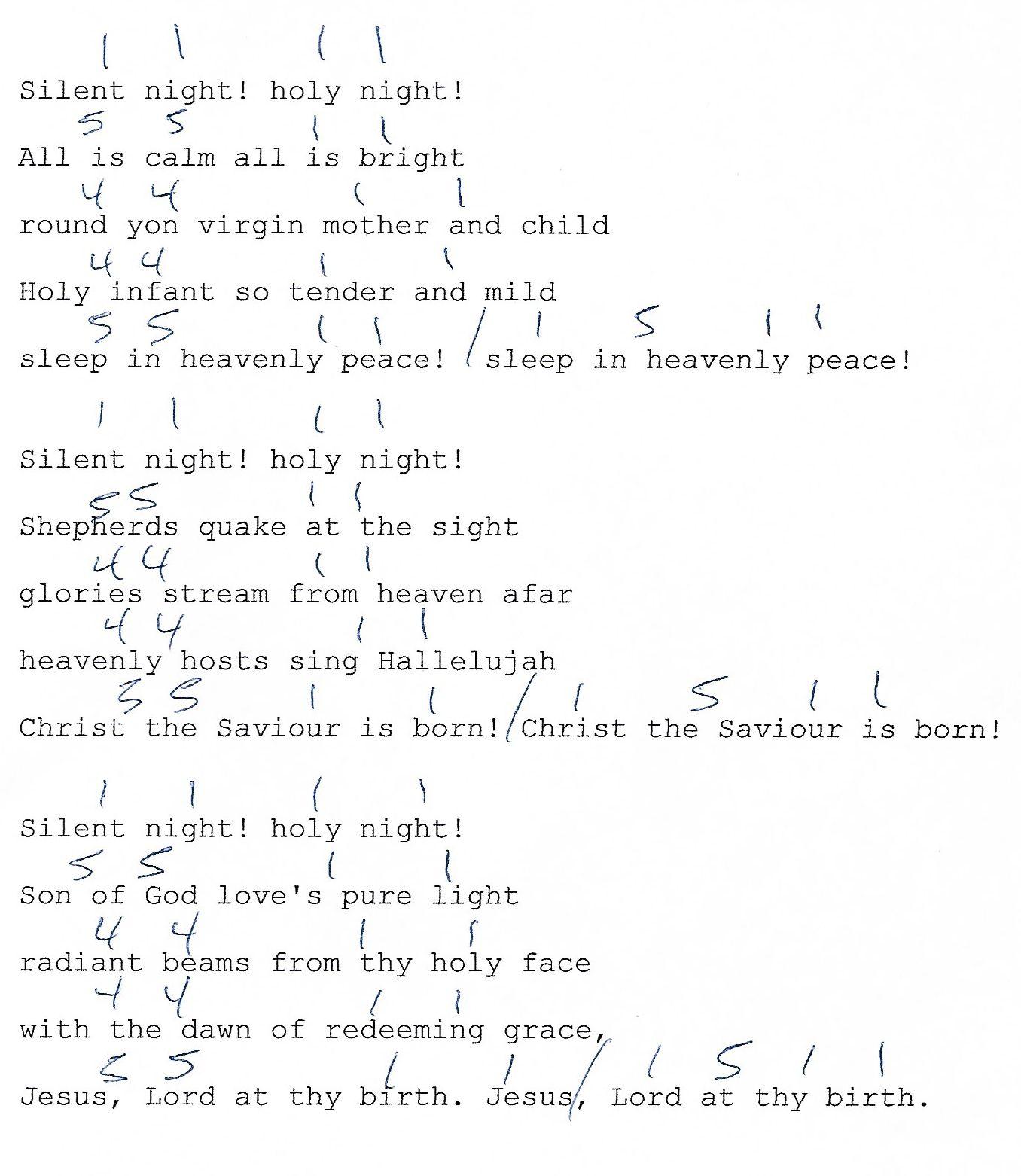 Silent Night Christmas 1 4 5 Guitar Chord Chart With Lyrics