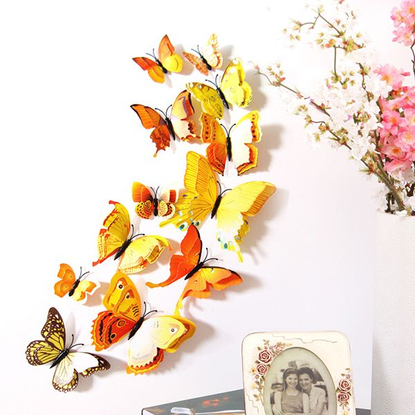 12Pcs Self-Sticky Double-layer 3D Butterfly Wall Stickers DIY ...