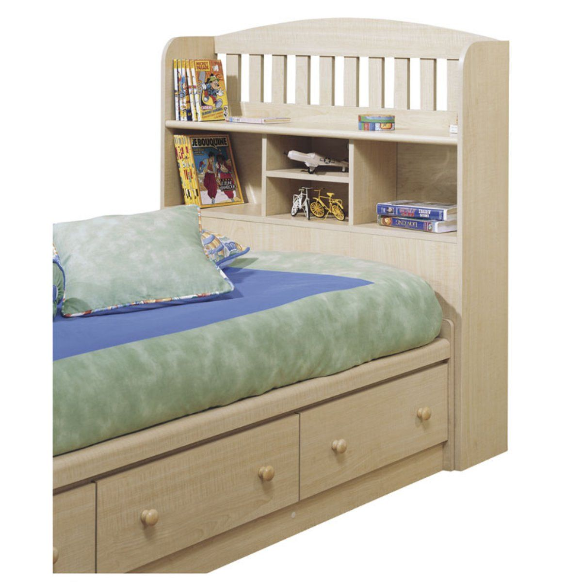 Stylish Headboard Kids Bed With Bookshelf Pictures Boys