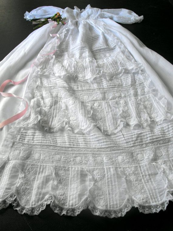 Edwardian Handmade Christening Gown with Lavish Embroidery and Lace ...