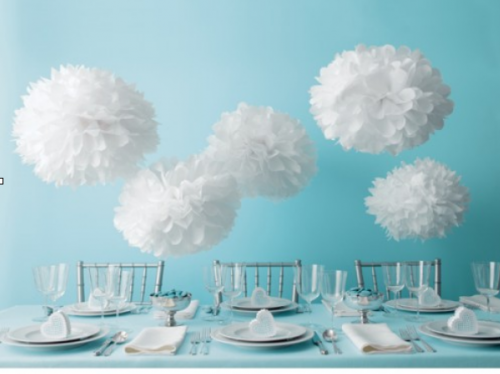Easy Elegant Party Decor Ideas Tissue pom poms Budgeting and