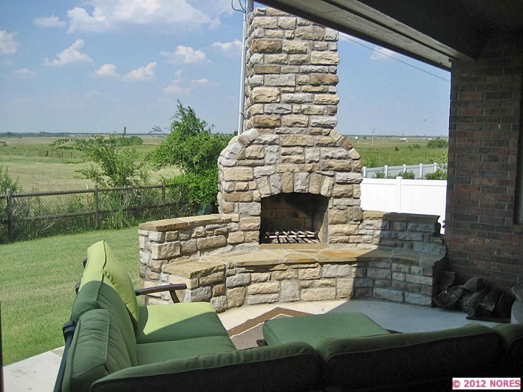 aftermarket built in wood burning fireplace off patio | Porches ...
