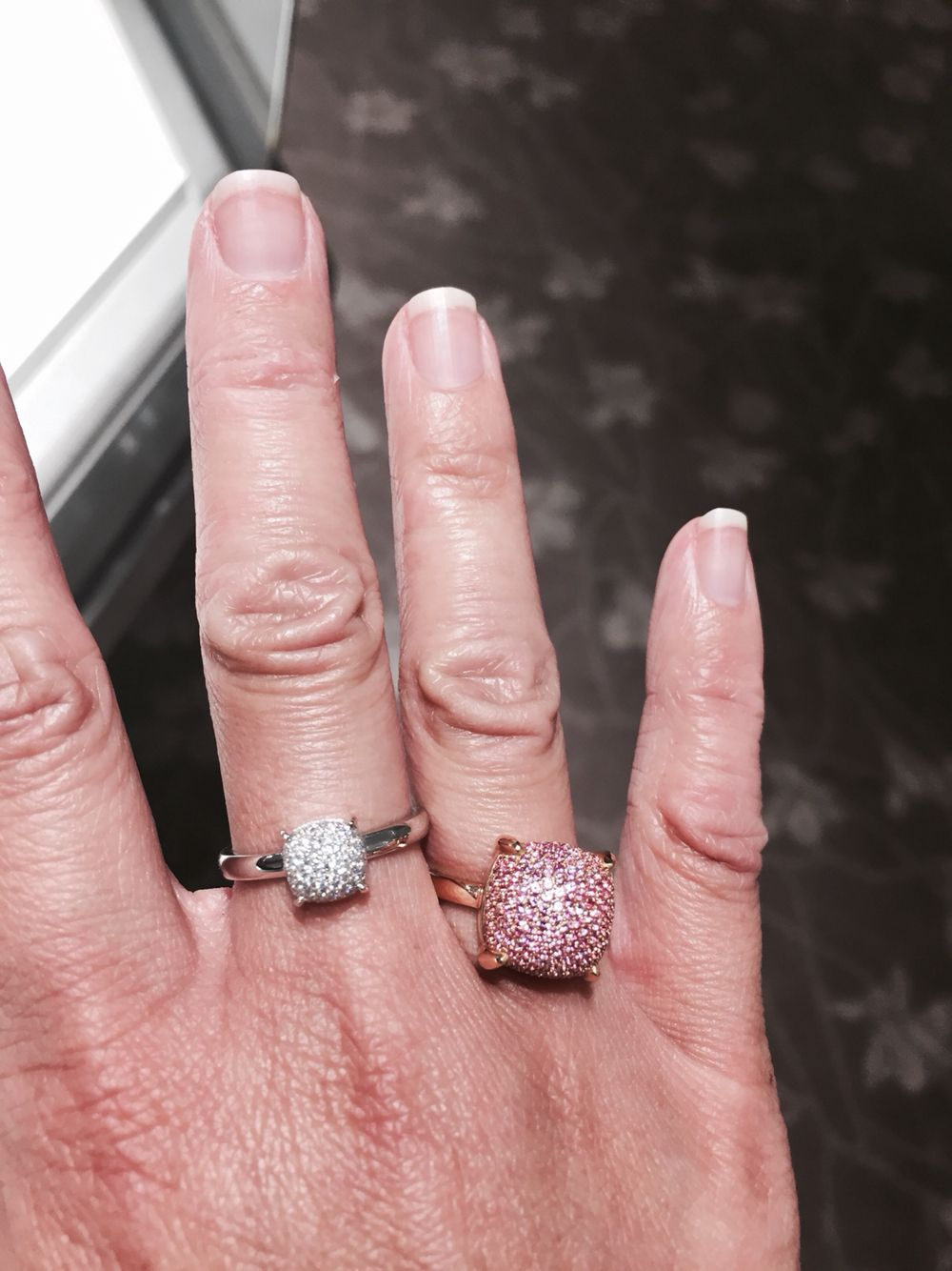 Paloma Picasso little diamond and white gold ring and big pink ...