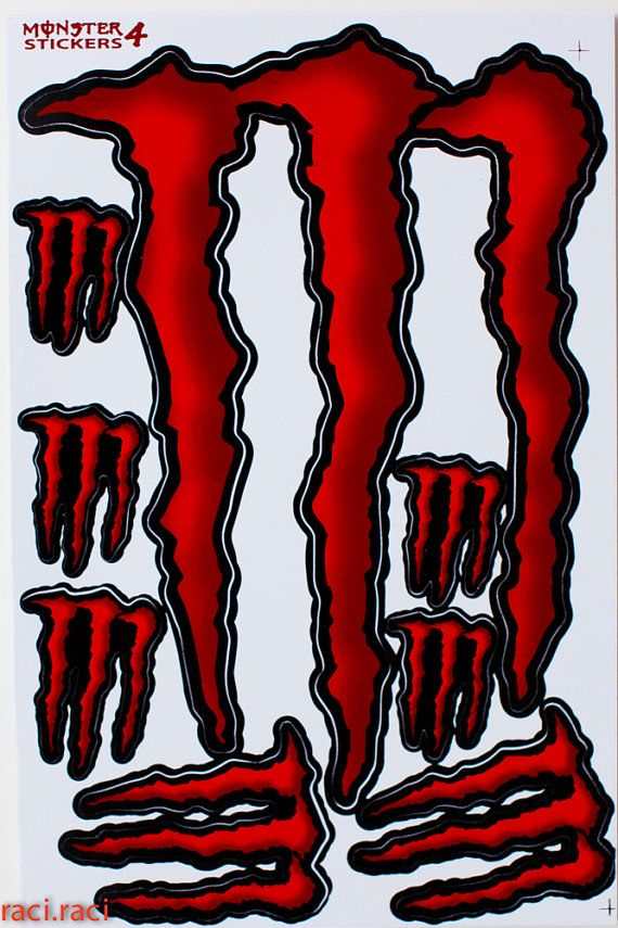Red Monster Energy Sticker Decal Supercross Motocross By Raciraci