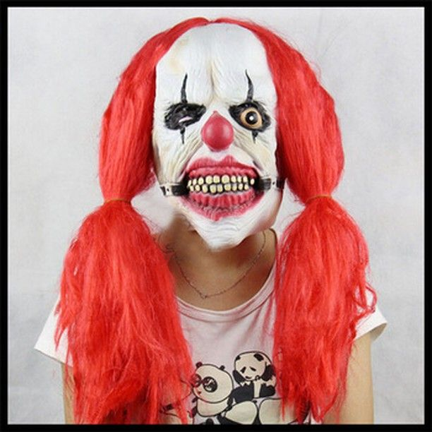Scary Joker Clown Mask with Red Hair Halloween Party Funny ...