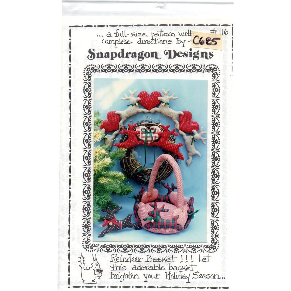 Reindeer Basket Pattern Soft Sculpture Vintage Holiday Christmas Snapdragon c685 #SnapdragonDesigns