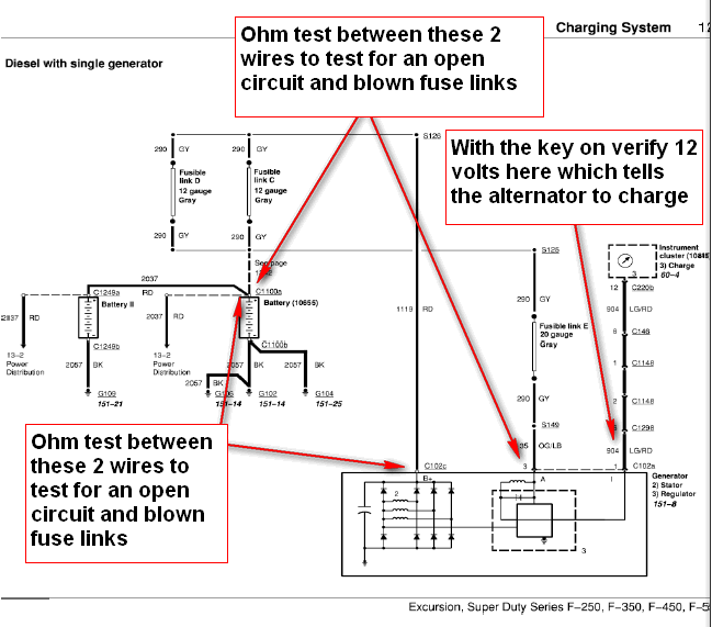 ford  super duty  alternator wiring diagram ford