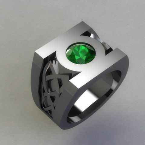 Sterling Silver Green Lantern Ring Created Emerald Ring Custom Celtic Ring Green Lantern Symbol Ring D Green Lantern Ring Green Lantern Green Lantern Symbol