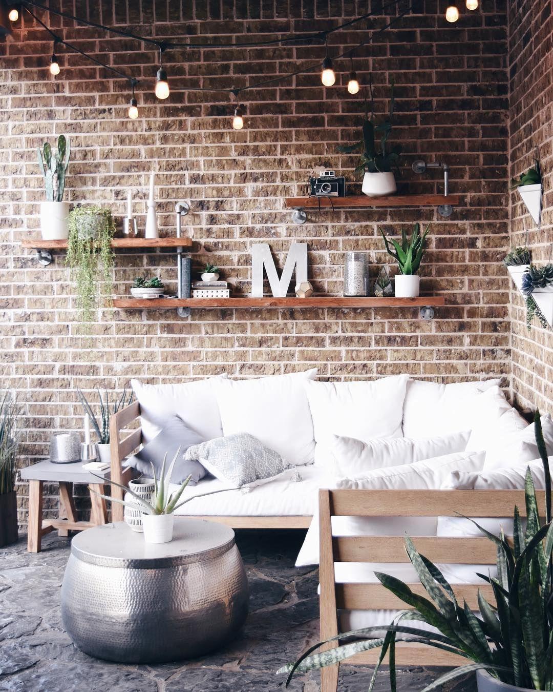 Outdoor Living Space Brick Wall Shelf Brick Living Room Brick Wall Living Room Diy Brick Wall
