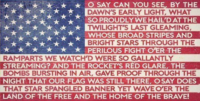 American Flag Star Spangled Banner Lyrics Metal Sign 24 X 12 Inches American Flag Quote Star Spangled Banner American Flag