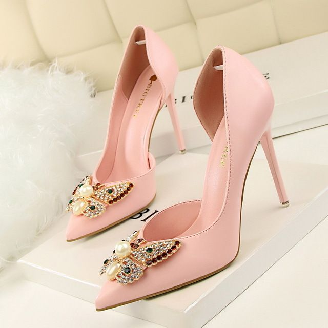 The new spring and summer tip is fine with shallow mouth bow sweet wedding shoes high heeled shoes