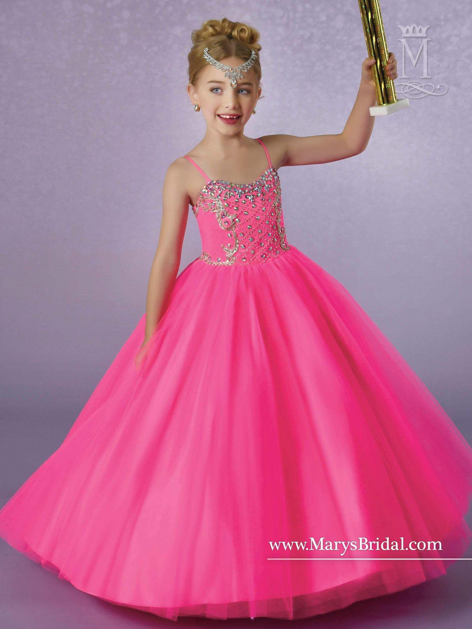 Girls Spaghetti Strap Beaded Tulle Dress by Mary\'s Bridal | Damas