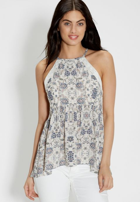 chiffon tank in floral print with lace | maurices