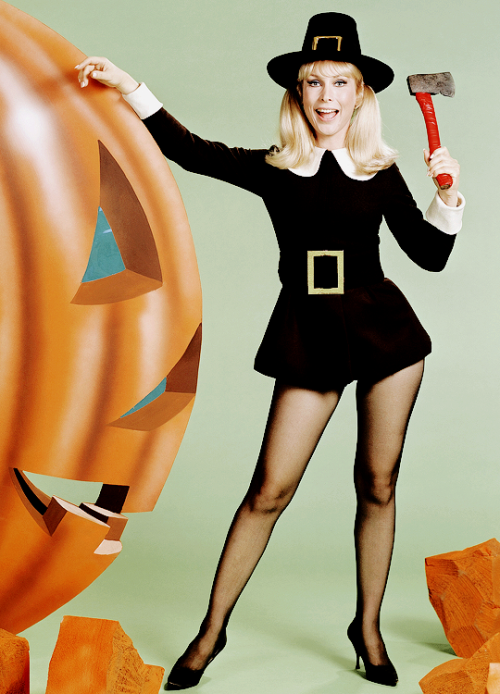 Actress Barbara Eden carving a pumpkin in a Pilgrim ensemble for Halloween.  Photo: NBC | Barbara eden, I dream of jeannie, Celebrities female