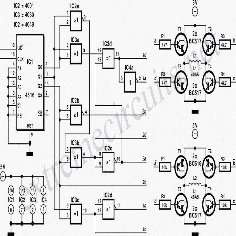 Bipolar Stepper Motor Driver Circuit Diagram