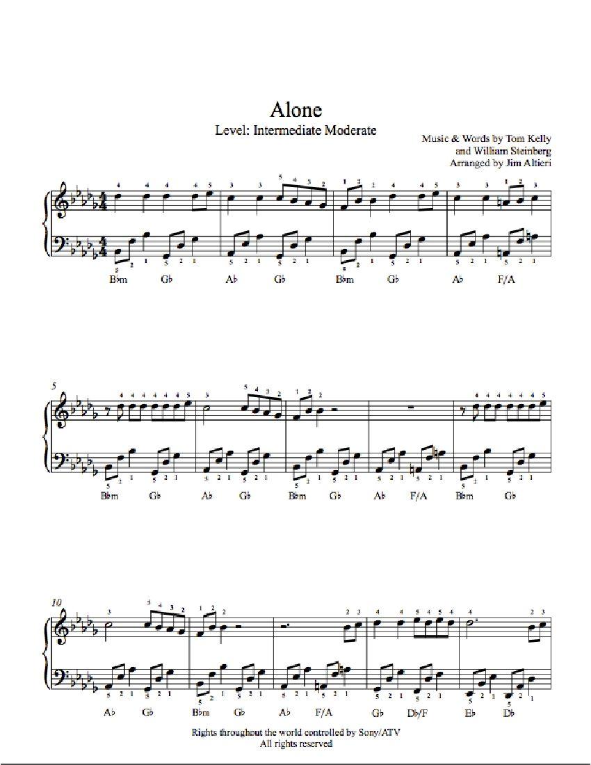 Alone by Heart Piano Sheet Music | Intermediate Level | Playground ...