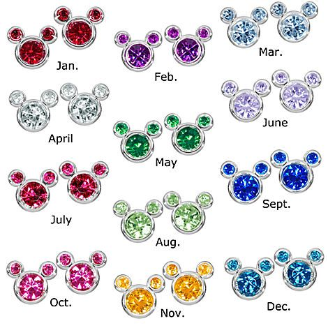 09fa81afc862e Birthstone Mickey Mouse Earrings - Except they don't have January at ...