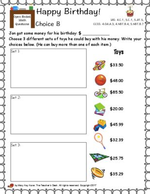 Open Ended Math Questions Grades 4 5 Money Problem Solving Add