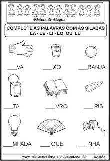 Sequencia Silabica Lacunada Letra L Atividades De Alfabetizacao