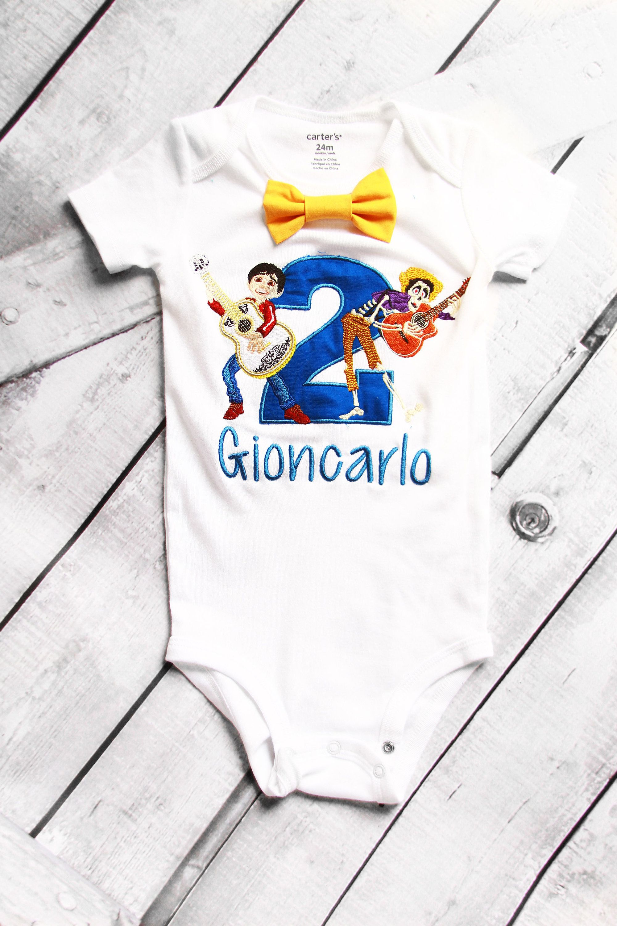 Baby Second Birthday Disney Coco Hector Miguel Themed Cake Smash Outfit Boy 2nd Two Year Bow Tie Onesie Shirt By LoveAndLollipopsBaby