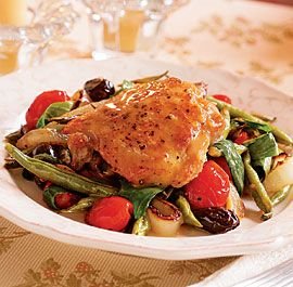 Roasted Chicken Thighs With Late Summer Vegetables Pan Sauce Recipe Finecooking Recipe Roasted Chicken Thighs Chicken Crockpot Recipes Summer Vegetable
