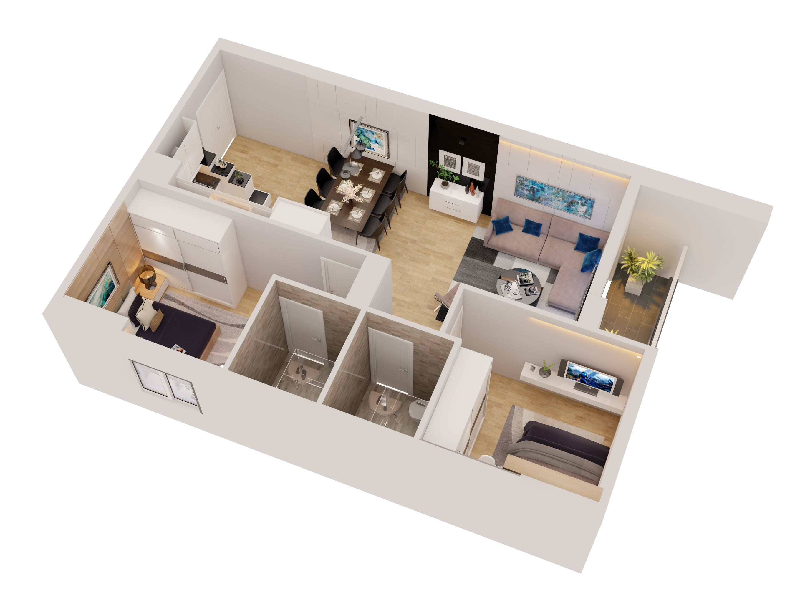 Cutaway apartment full furnitures modern design 3D Model ...