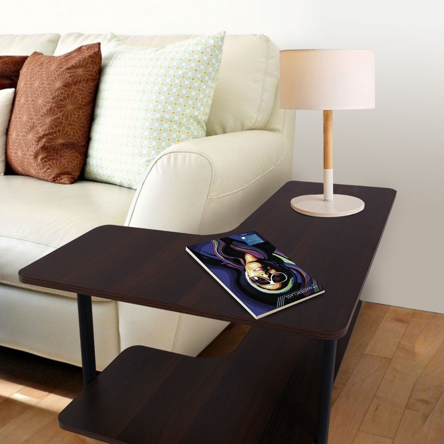 L-shape Sofa Table 2-tier Couch Side End Table Huge ...