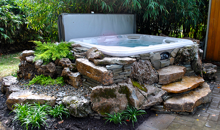 Contractor S Corner Think Outside The Pond Pond Trade Magazine Lilly Is Love Hot Tub Backyard Hot Tub Patio Hot Tub Landscaping