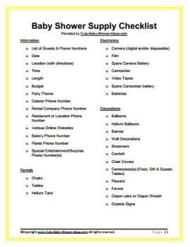 Free Baby Shower Supply Checklist  Baby    Baby Shower