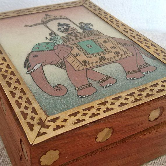 Indian wooden box Vintage jewelry organizer Retro treasures boxes