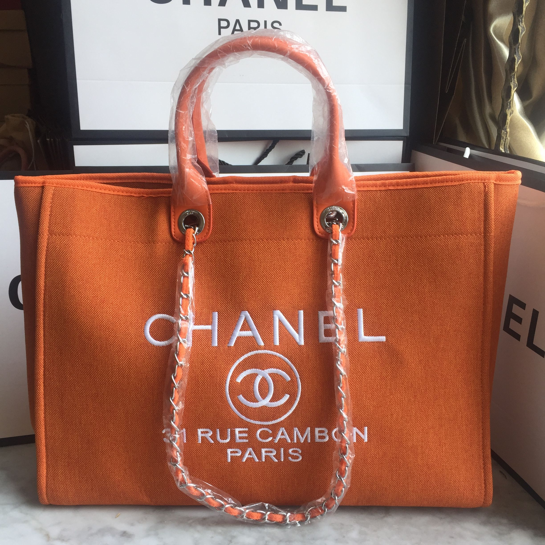 Chanel cabas tote shopping bag canvas orange   Chanel Deuville Totes ... 87c1d65c7b