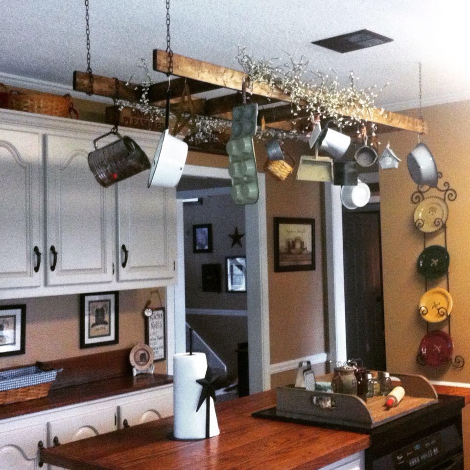 Primitive Ladder Over Island Rusticladder Primitive Kitchen Hanging Ladder Rustic Ladder