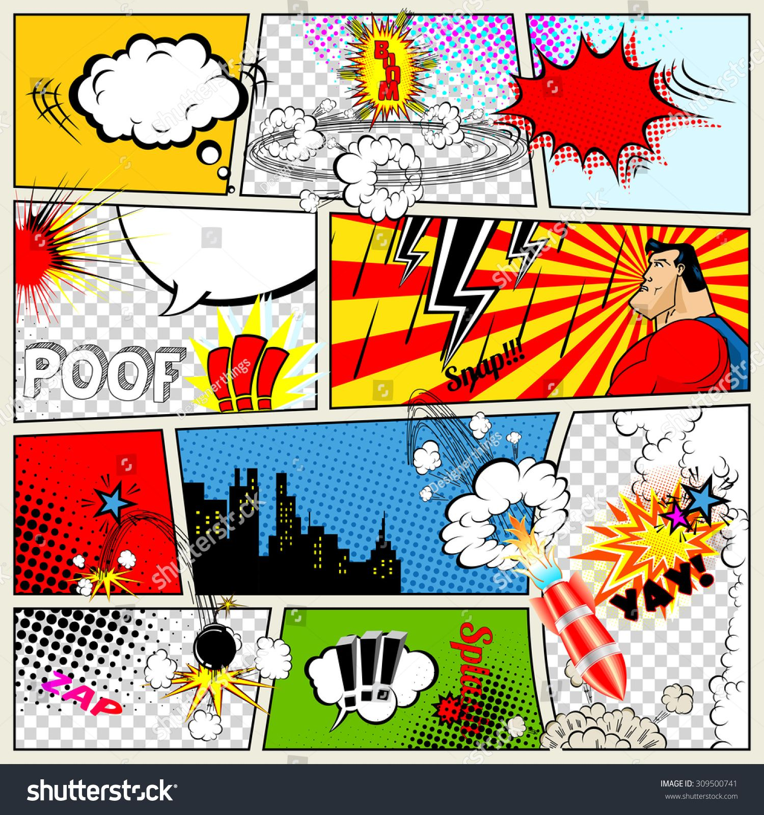 Comics Template Vector Retro Comic Book Speech Bubbles Illustration Mock Up Of Comic Book Page With Place Comic Template Retro Comic Book Comic Book Drawing