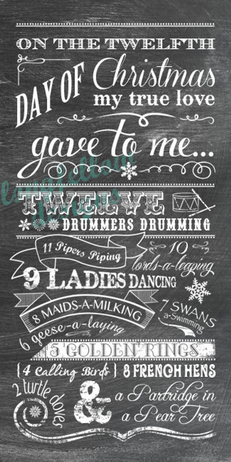 Twelve Days of Christmas Chalkboard Look Print