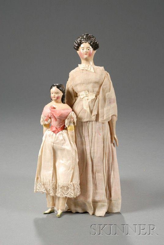 Two Papier-mache Milliner's Model Type Dolls | Sale Number 2482, Lot Number 608 | Skinner Auctioneers